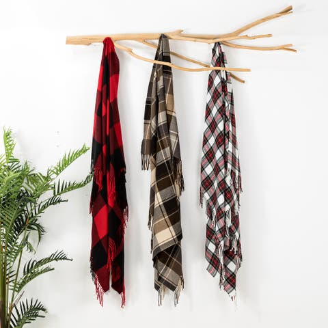 Glitzhome 50 x 60 Plaid Woven Throw Christmas Blankets