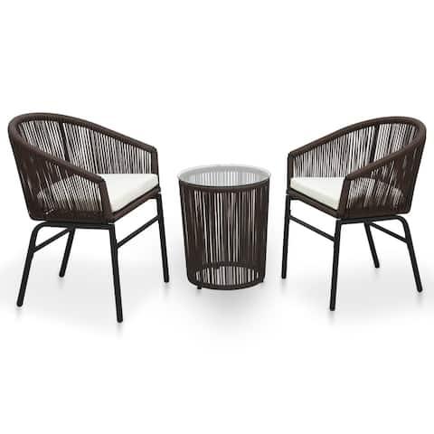 vidaXL 3 Piece Bistro Set with Cushions PVC Rattan Brown