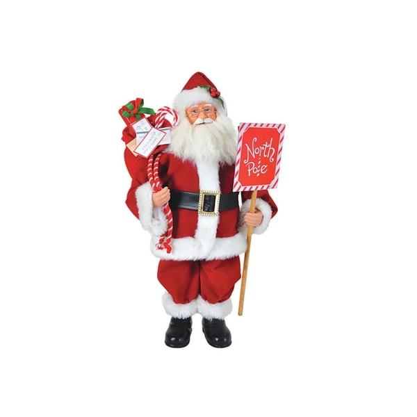 """15"""" Traditional North Pole Santa Claus with Toy Sack Christmas Table Top Figure - RED"""