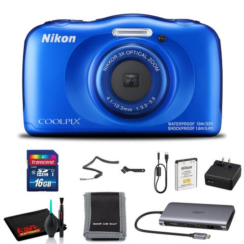 Nikon COOLPIX W300 Digital Camera (Yellow) Includes Basic 16GB Kit - Black