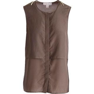 MICHAEL Michael Kors Womens Button-Down Top Sateen Zip Detail