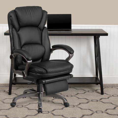 High Back LeatherSoft Reclining Ergonomic Chair with Outer Lumbar Cushion