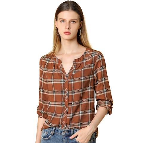 Women' Retro Plaid Button Up Vintage Shirt Round Neck Loose Top Blouse - Brown
