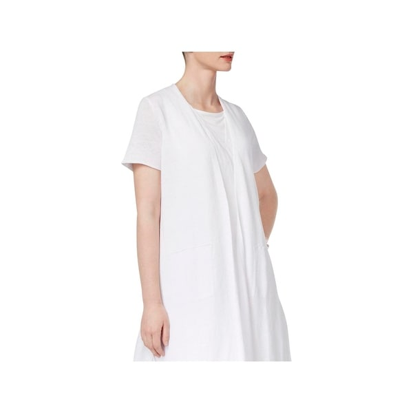 98201a298b Shop Eileen Fisher Womens Petites Cardigan Top Linen Open Front - Free  Shipping Today - Overstock.com - 22907704