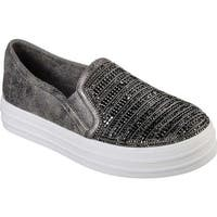 Skechers Women's Double Up Shimmer Top Slip-on Sneaker Pewter