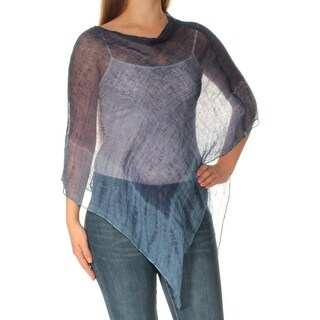 Womens Blue Jewel Neck Casual PONCHO Top Size ONE SIZE
