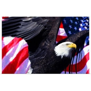 """""""Eagle and American flag"""" Poster Print"""