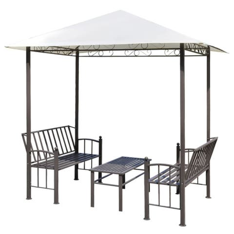 vidaXL Garden Pavilion with Table and Benches 8.2'x4.9'x7.9'
