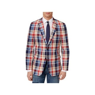 Tommy Hilfiger Mens Ethan Two-Button Blazer Plaid Slim Fit - 42