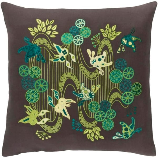 "22"" Butterflies in Paradise Green and Brown Decorative Throw Pillow - Poly"