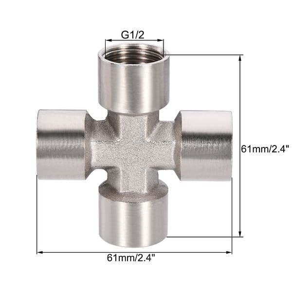 Brass Cross Pipe Fitting 1//2G Female Thread Equal Diameter Four-Way Joint