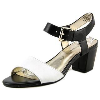 Anne Klein Petrona Open-Toe Leather Slingback Heel
