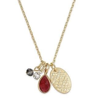 Inspired Life Gold-Tone Multi-Charm Stone Pendant Necklace Dark Red - Medium