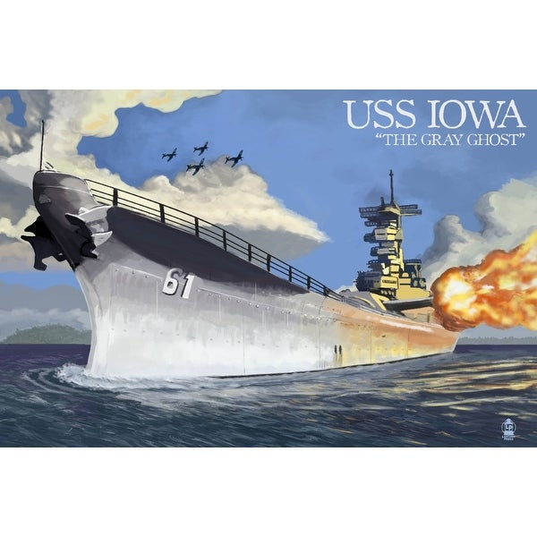 USS Iowa - The Gray Ghost - Lantern Press Artwork (Art Print - Multiple  Sizes Available) - 9 x 12 Art Print
