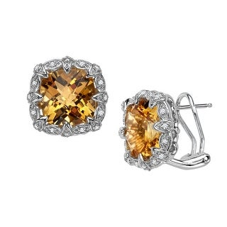 8 ct Natural Citrine & 1/6 ct Diamond Earrings in Sterling Silver - Yellow