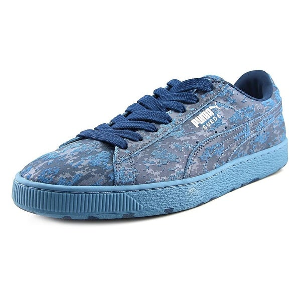 Puma Suede A Camo Men Round Toe Leather Blue Sneakers