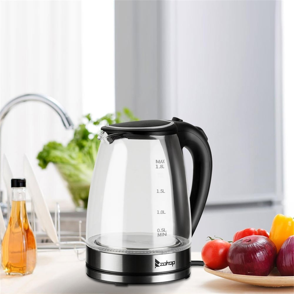 Overstock110V 1500W 1.8L Electric Glass Kettle US Plug