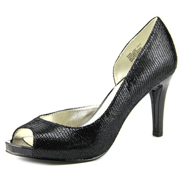 Anne Klein Octavie Peep-Toe Leather Heels