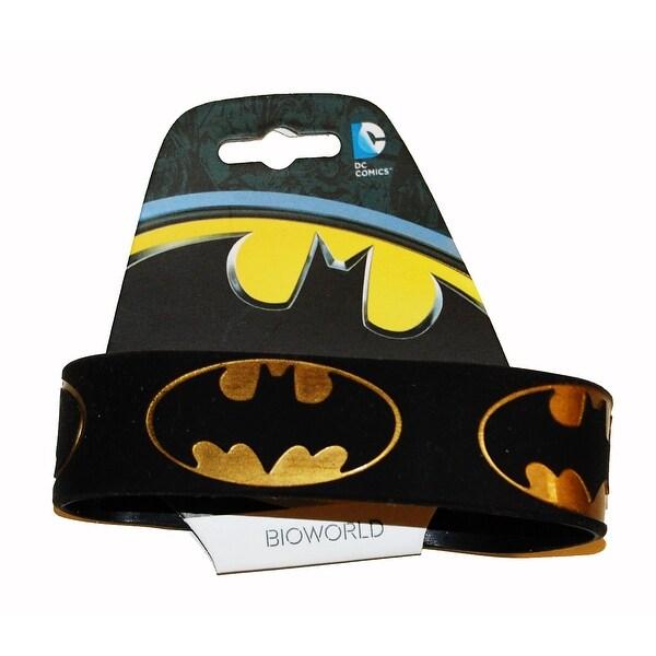 Batman Gold Logo Repeat Wristband - Black