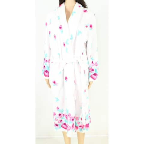 Jasmine Rose Womens Bath Robe White Pink Size Small S Fleece Floral