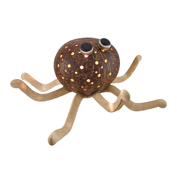 Recycled Coconut Shell Whimsical Octopus Accent Lamp - brown