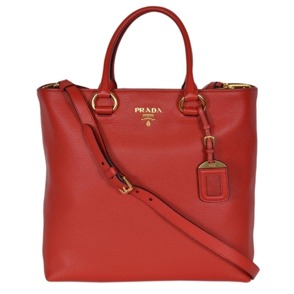 eca80bd4ebd6 Prada 1BG865 Red Leather Vitello Phenix Convertible Tote Handbag Shopper -  13.77