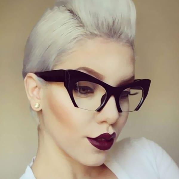2607a6f64 Trendy Half Frame UV400 Eyewear Cat Eye Sunglasses Women Clear Brand  Designer Sun Glasses
