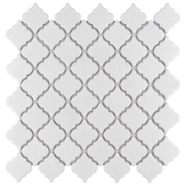 "SomerTile Hudson Tangier Crystalline White 12.38"" x 12.5"" Porcelain Mosaic Tile. Opens flyout."