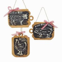 "Pack of 12 Country Rustic Farm Animal Cutting Board Christmas Ornaments 4.5"" - brown"