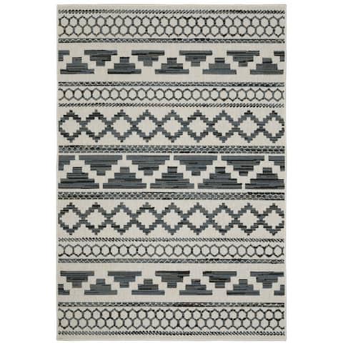 Talcot Geometric Tribal Beige/Cream Indoor-Outdoor Area Rug