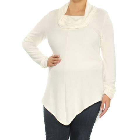 BCX Womens Ivory Long Sleeve Cowl Neck Sweater Size: XL