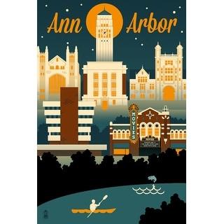 Ann Arbor, MI - Retro Skyline - LP Artwork (Acrylic Wall Clock)