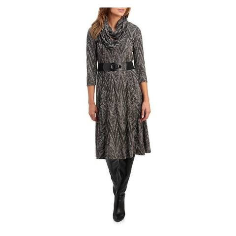 ROBBIE BEE Womens Gray Printed Long Sleeve Midi Sheath Dress Size PM