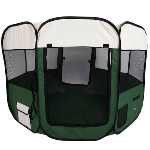 """57"""" Portable Foldable 600D Oxford Cloth & Mesh Pet Playpen Fence Dog Crate"""