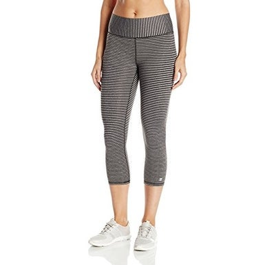 bea4a6f8b9820 Shop Champion Women's Absolute Capri Legging with SmoothTec Black Heather  Stripe, M - Free Shipping On Orders Over $45 - Overstock - 21530482