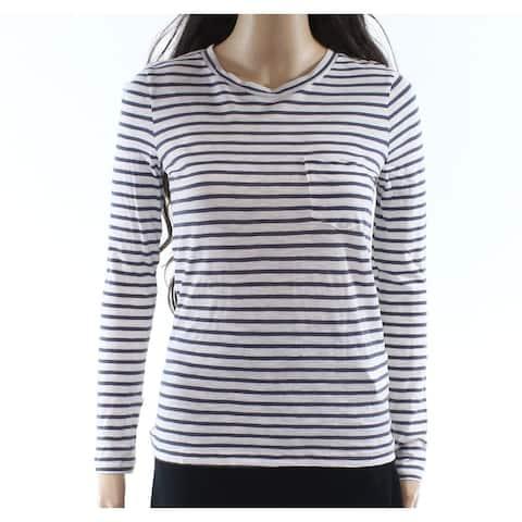 J. Crew Gray Womens Striped Pocket T-Shirt Knit Top