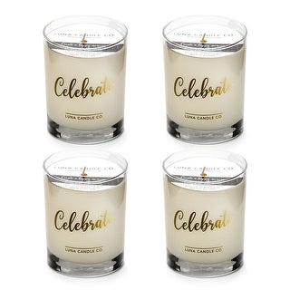 Natural Scented Vanilla Glass Candle, Soy Wax, Perfect Gift (4 Pack)