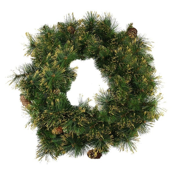 """24"""" Mixed Pine Glittered Pine Cone Artificial Christmas Wreath - Unlit"""