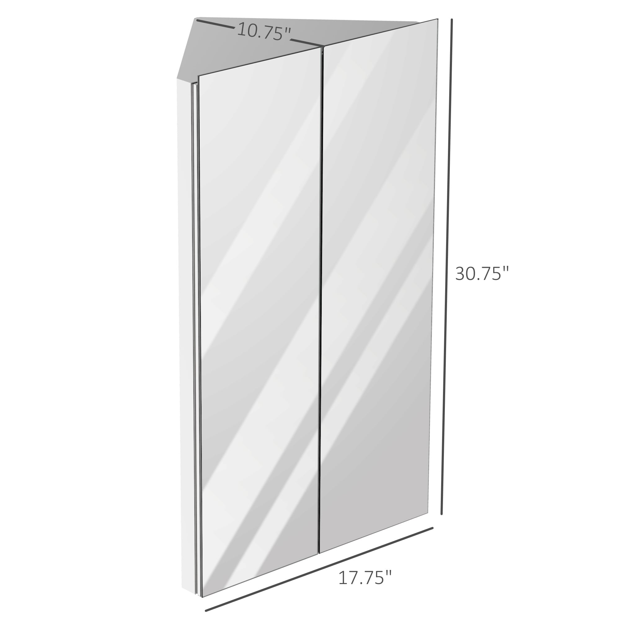 Multipurpose Storage Organizer for Bathroom kleankin Corner Mirror Cabinet Wall Mounted with Double Doors and 3 Shelves