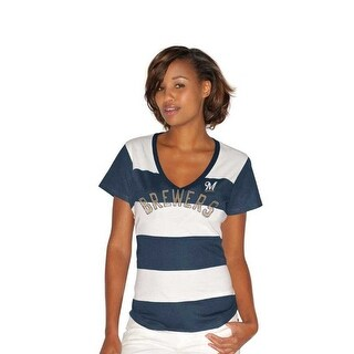 Milwaukee Brewers Striped Women's Blue/White V-Neck