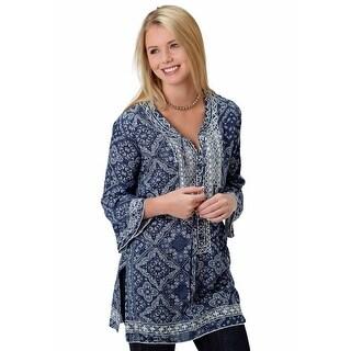 Roper Western Shirt Womens 3/4 Sleeve Bandana Navy 03-050-0590-3002 BU