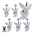 Multi Colored Gems on Playboy Bunny 316L Surgical Steel Navel Belly Button Ring (Sold Ind.) - Thumbnail 0