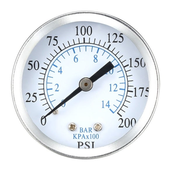 """Pressure Gauge , 0-200 PSI/0-14 BAR , 1.8"""" Dial Display , 1/4"""" NPT Male"""