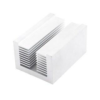 Silver Tone Aluminium U Slotted Heatsink Heat Radiactor 80x58x43mm