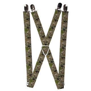 Buckle Down Kids' Elastic 1 Inch Wide Clip-End Camouflage Suspenders - Green - One Size