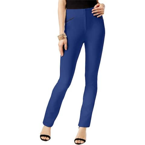 I-N-C Womens Faux Leather Casual Trouser Pants