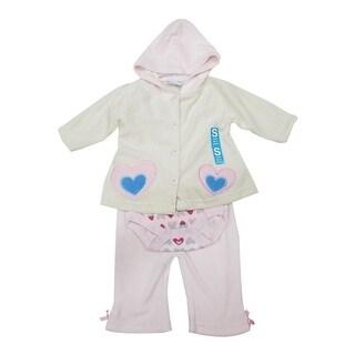 Bon BeBe Baby Girls Off-White Heart Hooded Top Bodysuit 3 Pc Pant Set