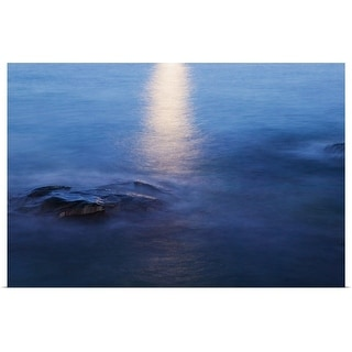 """Moon reflection in calm water of Lake Superior, from Artist Point, Minnesota"" Poster Print"