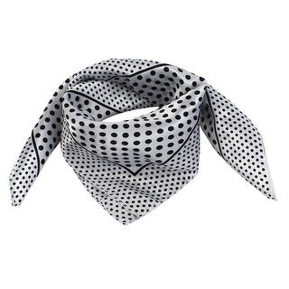 Unique Bargains Black Dots Pattern Polyester Kerchief Neck Headband Scarf  White For Ladies