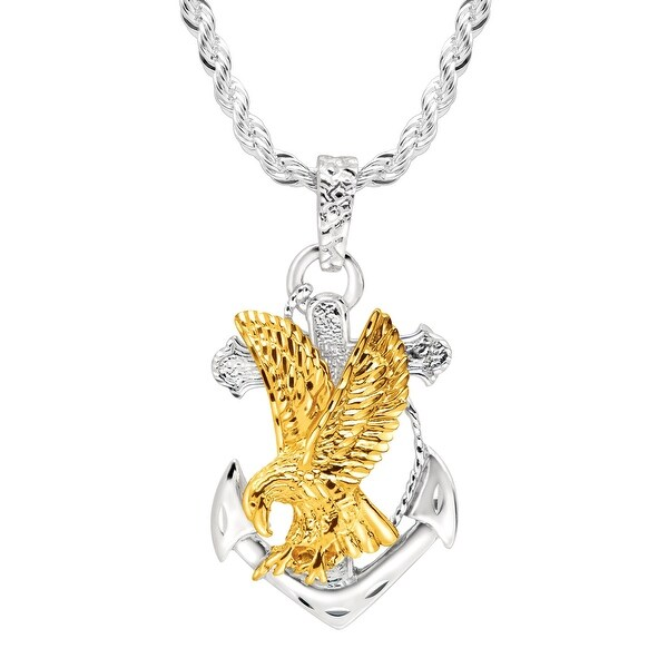 Men's Eagle on Anchor Pendant in 22K Gold over Sterling Silver